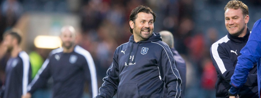 Paul Hartley at pitchside for a Dundee friendly