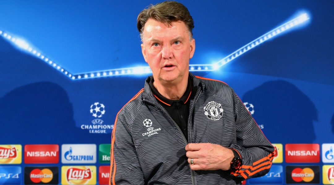 Louis van Gaal stands during a Man Utd press conference